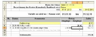 Kassenbuch Excel Vorlage Downloaden Kostenlos Vereinsbuchhaltung Vorlagen4you