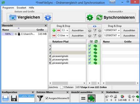 Ordner Verzeichnisse vergleichen und synchronisieren mit FreeFileSync