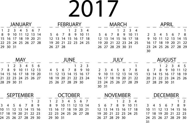 Kalender 2017 Vorlage